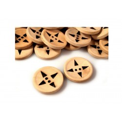 Scrapbooking - Dřevěný knoflík s trojúhelníčky
