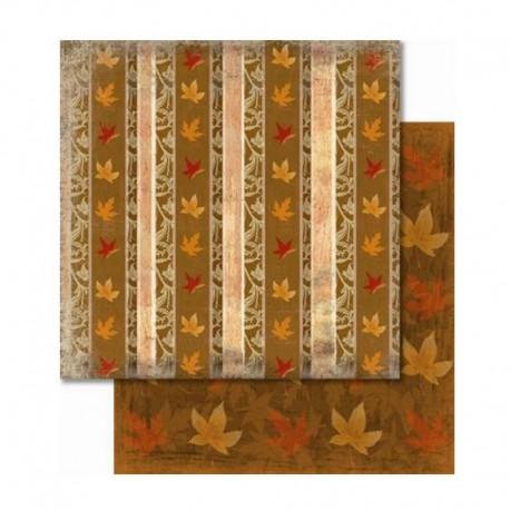Scrapbooking - Oboustranný papír - Podzimní pruhy