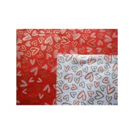 Morušový papír - Unryu - se srdíčky - červený