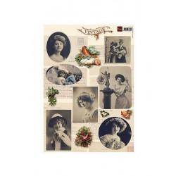 Vintage foto-obrázky - Zima a ptáček
