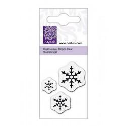 Transparentní razítko vločky krystal - 3ks