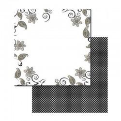 Scrapbook - Oboustranný papír - Černobílé lístky a kytky
