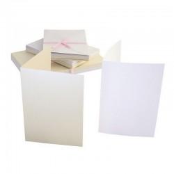 Blahopřání a obálky - 50ks - PERLEŤOVÉ - bílé a krémové - A6