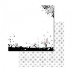 Scrapbooking - Oboustranný papír - Černobílí motýlci