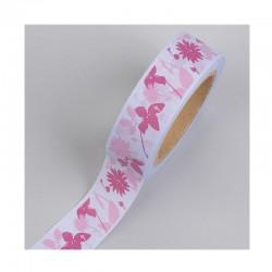 Scrapbooking - Washi - Samolepící páska - Růžová s květinami