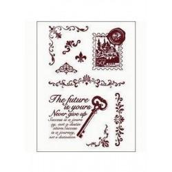 Razítka - Klíč s textem, poštovní známka, girlandy....