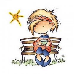 Scrap - Razítko - Daisy na lavičce