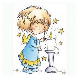 Scrap - Razítko - Daisy se svíčkou
