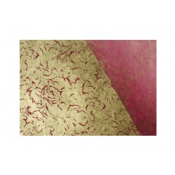 Scrap - Nepálský papír - Lokta - Vínový se zlatým tiskem