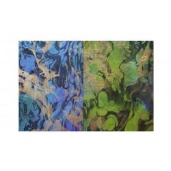 Morušový papír - Strojně čerpaný - Milano silk - modrý