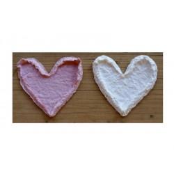 Srdíčka z ručního papíru - velká - růžová