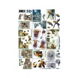 scrap- 3D papíry - Zvířata devět obrázků