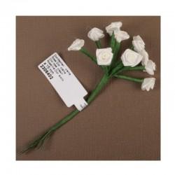 scrap - Kytičky růžiček ze saténu - krémové - sada 12ks.