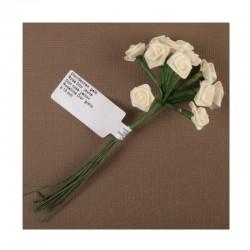 scrap - Kytičky růžiček ze saténu - žluté - sada 12ks.