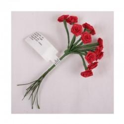 scrap - Kytičky růžiček ze saténu - červené - sada 12ks.