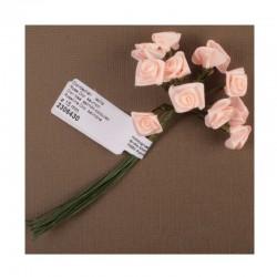 scrap - Kytičky růžiček ze saténu - lososové - sada 12ks.