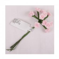 scrap - Kytičky růžiček ze saténu - růžové - sada 12ks.