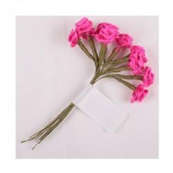 scrap - Kytičky růžiček ze saténu - tmavě růžové - sada 12ks.