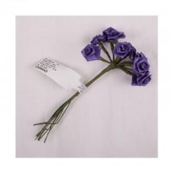 scrap - Kytičky růžiček ze saténu - fialové - sada 12ks.