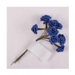 scrap - Kytičky růžiček ze saténu - tmavě modré - sada 12ks.