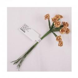 scrap - Kytičky růžiček ze saténu - zlaté - sada 12ks.