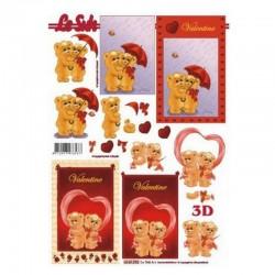scrap - 3D papíry - Valentýn - Medvídci 2.
