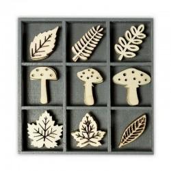 Dřevěné dekorace - Houby a listy