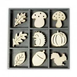 Dřevěné dekorace - Ježek, veverka, houby....
