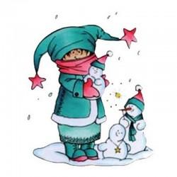 Razítko - Snoesjes - Stavění sněhuláka