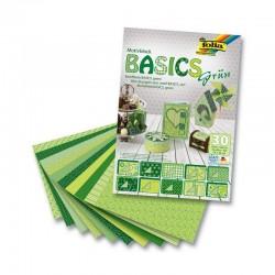 Sada kreativních papírů - Basics zelená - 30ks.