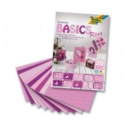 Sada kreativních papírů - Basics růžovo-fialová - 30ks.