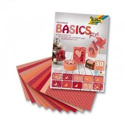 Sada kreativních papírů - Basics červená - 30ks.