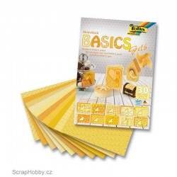 Sada kreativních papírů - Basics žlutá - 30ks.