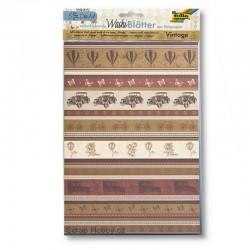 Sada Washi Tape papírů - A4 - Vintage