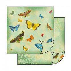 Oboustranný papír na scrapbooking - Barevní motýlci
