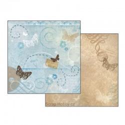 Oboustranný papír na scrapbooking - Modrý s motýlky