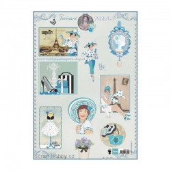 List A4 s obrázky Twinsets - Pearls modrý
