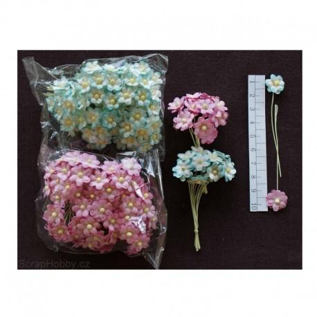 Kytičky z ručního papíru - pomněnky - růžové