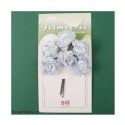 Kytice papírových růží s krajkou 6ks - světle modré