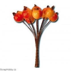 Dekorační svazek bobulí 12ks - oranžovo-žluté