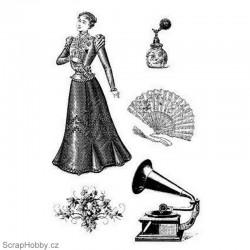 Cling razítko - Gramofon, vějíř, dáma