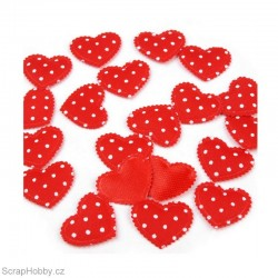 Látková srdíčka s puntíky - červená