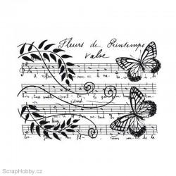 Razítko dřevěné - Květinová partitura