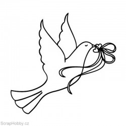 Razítko dřevěné - Svatební holubička