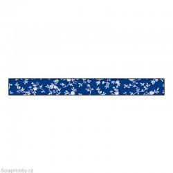 Washi páska - Modré s květinami 1,5cmx10m
