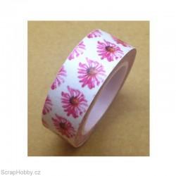 Washi páska - Sedmikráska - růžová - 10m x 15mm