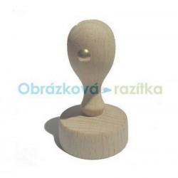 Kulaté, dřevěné držátko k razítkům v prům. 3,5cm