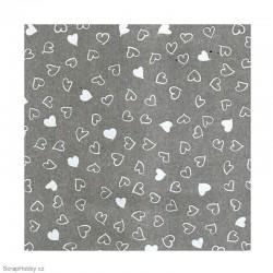 Transparentní papír - Padající bílá srdíčka - A4
