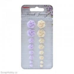 Kytičky z pryskyřice - růžičky fialové....16ks