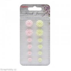 Kytičky z pryskyřice - Chryzantémy růžové...12ks